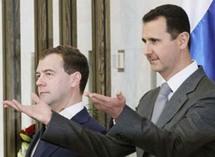بشار الاسد برفقة الرئيس الروسي ديمتري ميدفيديف