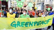 مظاهرة لمنظمة جرين بيس بالأرجنتين احتجاجا على إزالة الغابات