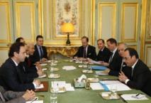 وفد الائتلاف مع الرئيس الفرنسي