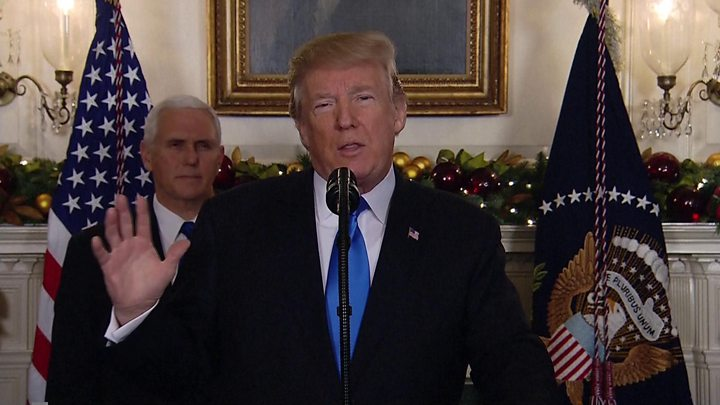 ترامب يعلن رسميا الاعتراف بالقدس عاصمة لإسرائيل