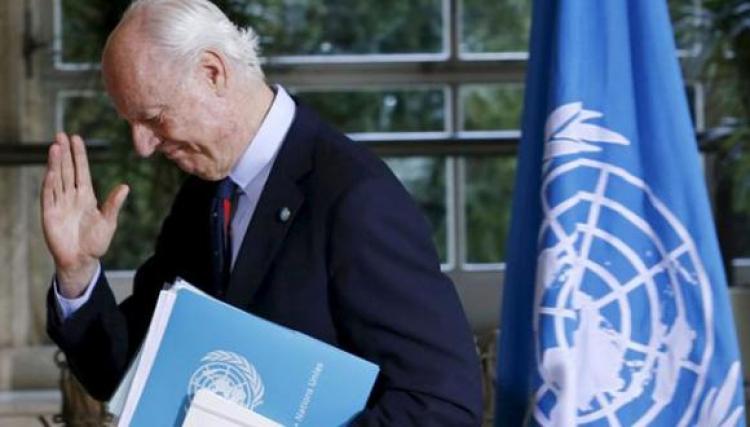 """دي ميستورا يدعو بوتين لـ""""إقناع النظام"""" بالتوصل لاتفاق للسلام"""