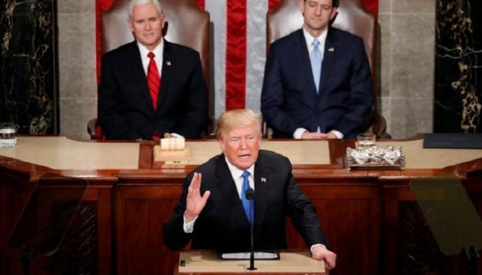 ترامب يثني على الاقتصاد الأمريكي في خطابه الاتحادي لأول