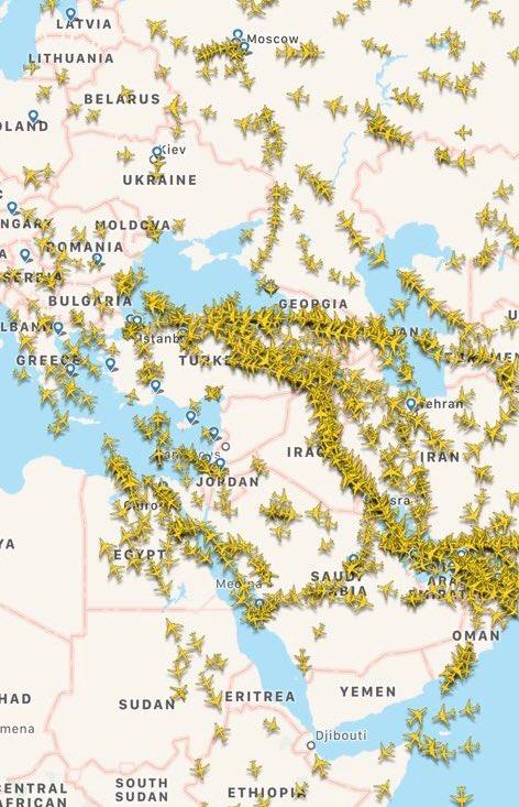 حركة الطيران المدني فوق العالم