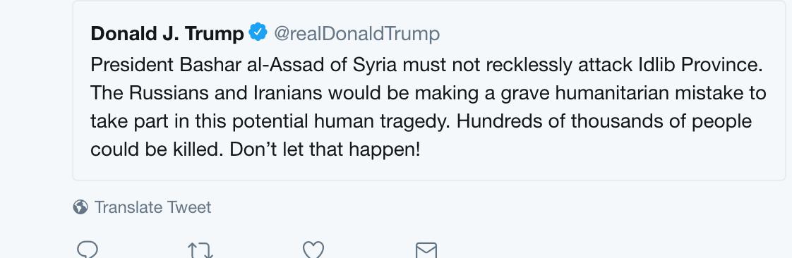 الرئيس الاميركي يحذر الأسد من تنفيذ هجوم على إدلب