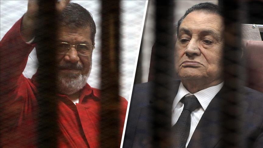 شاهد وسجين.. مبارك ومرسي وجها لوجه في المحكمة لأول مرة