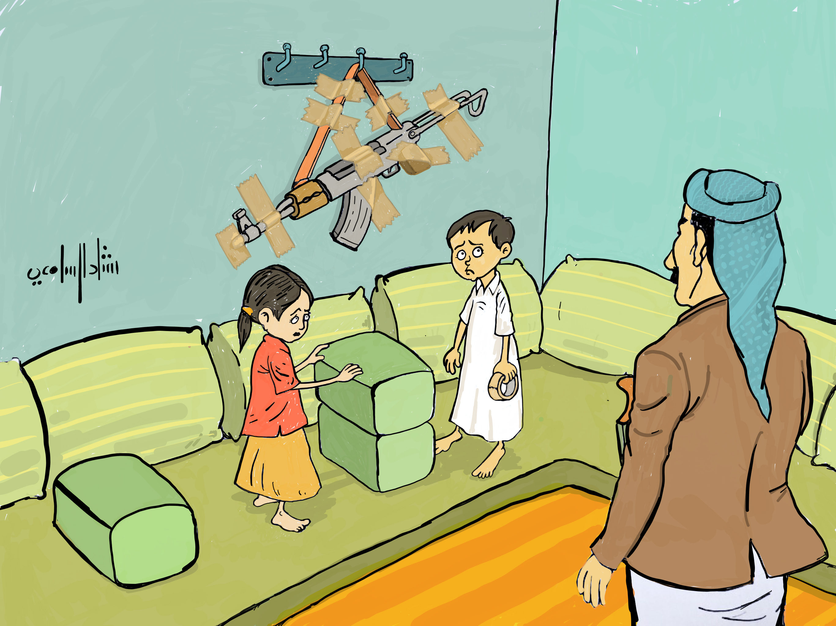 السامعي  ..فنان يمني بارز يقاتل أوجاع الحرب برسوم كاريكاتيرية