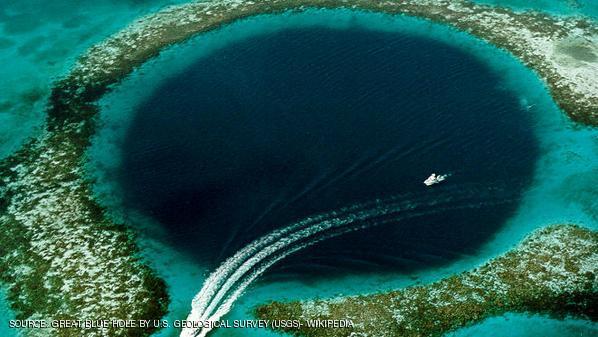 منظر جوي للحفرة الزرقاء الواقعة إلى الشرق من بيليز
