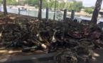 إلقاء مركبات الاسكوتر والدراجات في نهر السين  والفاعل مجهول