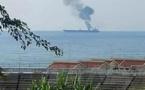 اندلاع حريق بناقلة نفط قبالة ساحل بانياس إثر هجوم من طائرة مسيرة